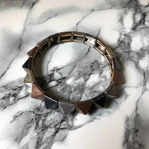 Jewelry - Silver Gunmetal & Copper Pyramid Stud Bracelet